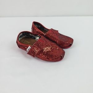 Toms Red Glitter Shoes Flats #A